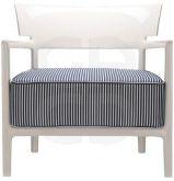 Fauteuil Cara - Le fauteuil ivoire rayé bleu