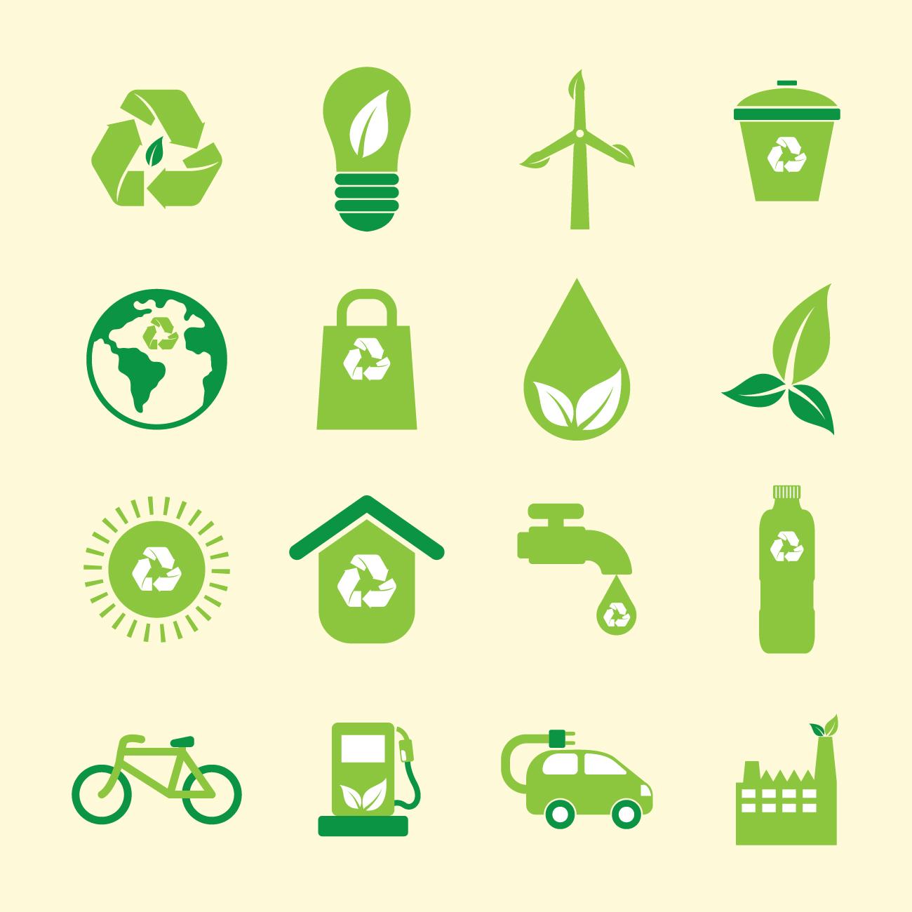 les différentes icônes de l'eco-responsabilite